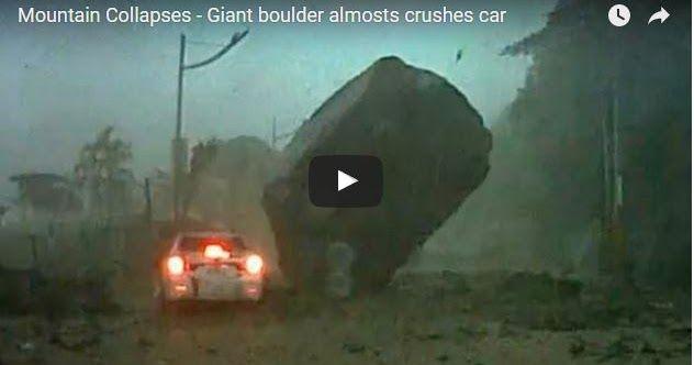 #HeyUnik  [VIDEO] Sedikit Lagi, Mobil Ini Bakalan Hancur Tergencet Batu Besar #Video #YangUnikEmangAsyik