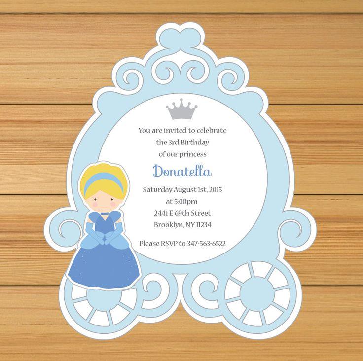 Invitación de carruaje de Cenicienta princesa por BirthdayPartyBox