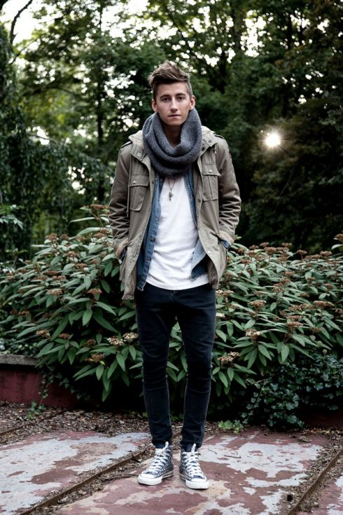 A couple of light layers can make all the difference. Tee shirt, denim shirt and light weight military hooded jacket with a chunky scarf - perfect for whatever the day throws at you.