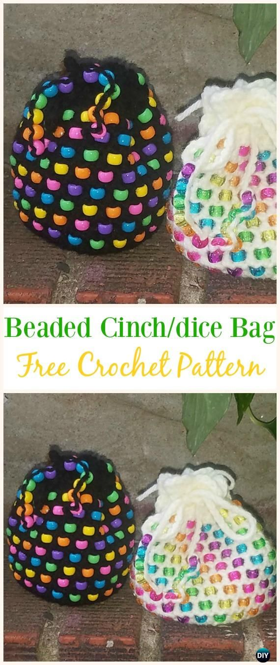 Beaded Cinch/dice bag Free Crochet Pattern -#Crochet Drawstring #Bags Free Patterns
