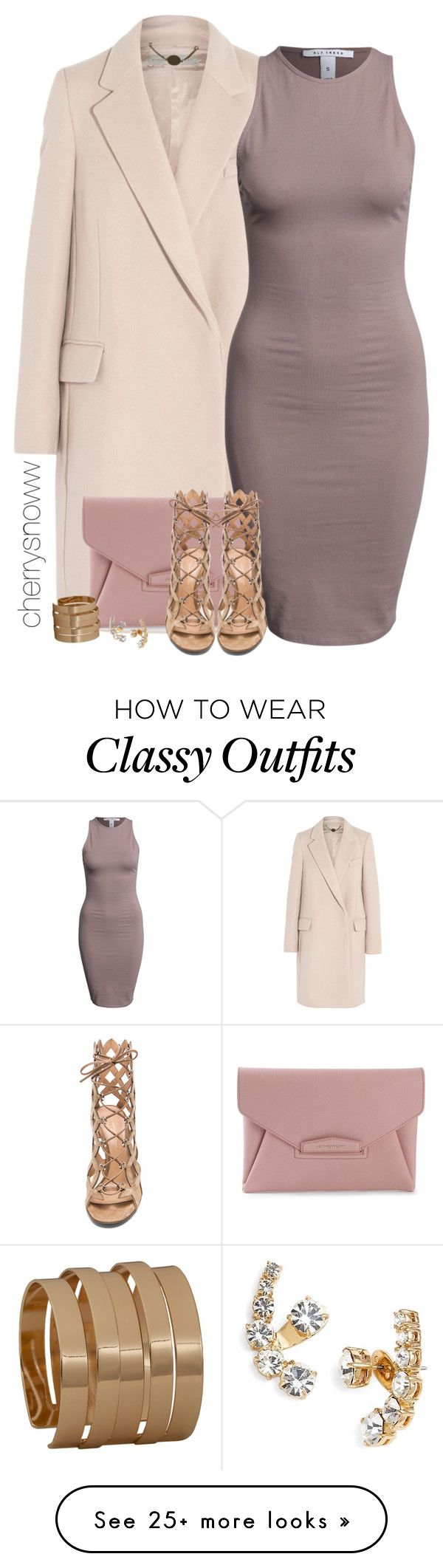 """Classy chic bodycon dress and lace up heels outfit"" by cherrysnoww on Polyvore featuring STELLA McCARTNEY, Givenchy, NLY Trend, Gianvito Rossi, Club Manhattan and Kate Spade"