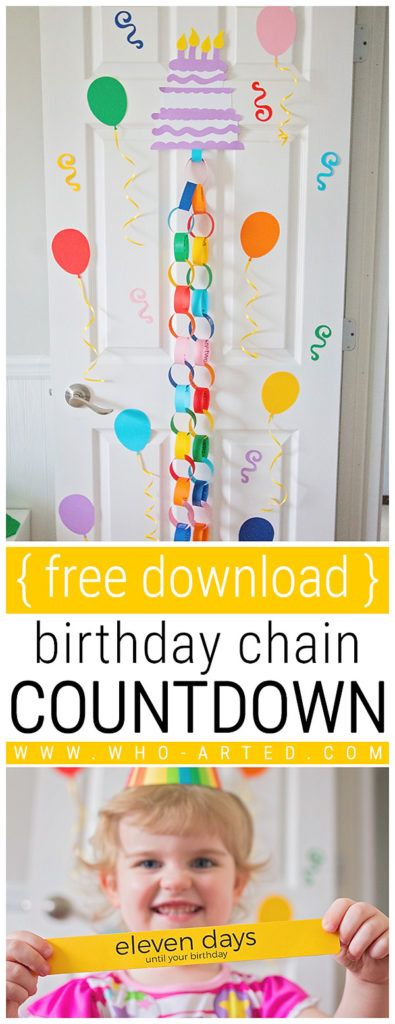 Birthday Cake Countdown Chain {Free Download}. We made this birthday countdown for my daughter and are sharing our template with you! http://www.who-arted.com/2017/04/17/birthday-cake-countdown-chain/