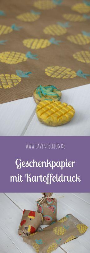 Geschenkpapier mit Kartoffeldruck gestalten macht Kindern und Erwachsenen Spaß. Geschenke individuell verpacken ist so ganz einfach!