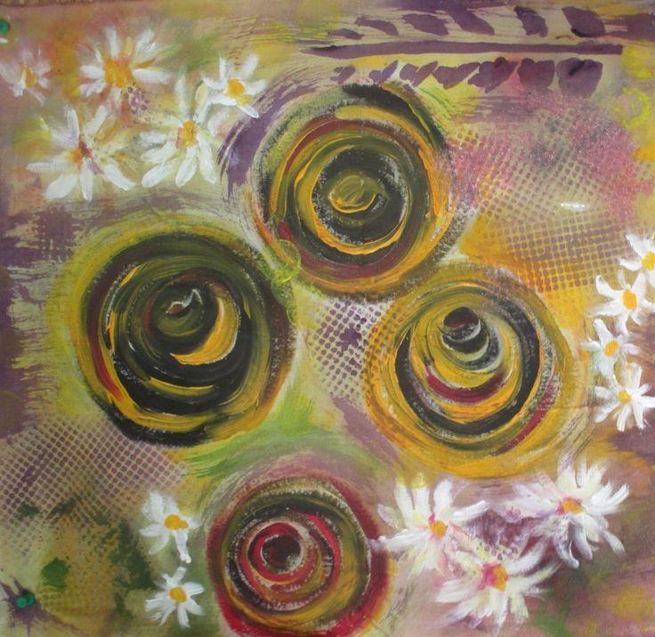 Tecido pintado à mão, 50cmx50cm   Serie ZEN