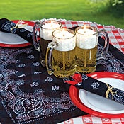 Country Western Theme - Table Decorations: Westerns Theme Parties, Beer Mugs, Backyard Bbq, Westerns Parties, Parties Ideas, Bbq Parties, Westerns Centerpieces, Bandanas, Parties Tables Decor