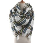 Womens Warm Colorful Plaid Pattern Cashmere Shawl Scarf Blue