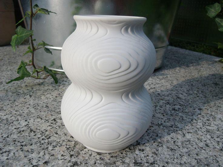 Blumen Vase Hutschenreuther Tirschenreuth weiß Bisquit Porzellan Relief