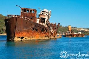 #Tangalooma #shipwreck #wreck #ship #old #blueskies #beach #washedup #recreational #tourist #Brisbane #TourismQueensland