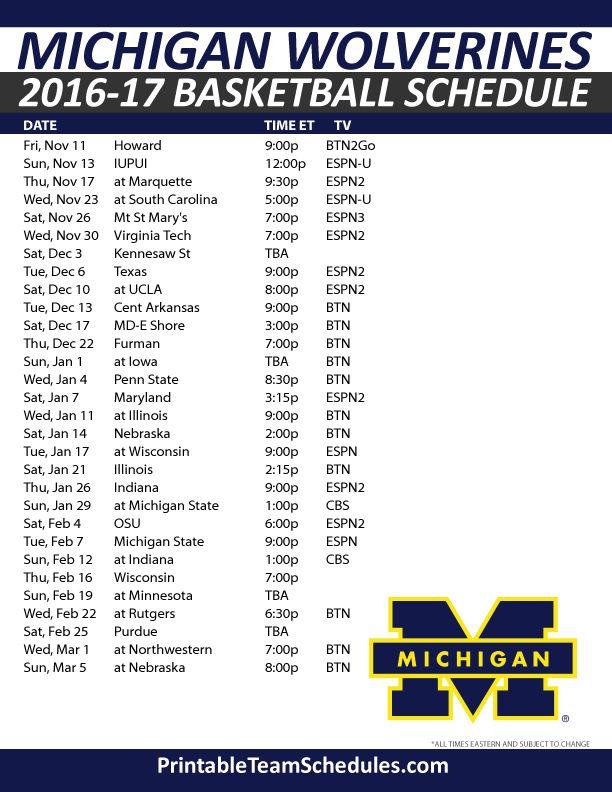 Michigan Wolverines Basketball Schedule2016-17. Print Here - http://printableteamschedules.com/NCAA/michiganwolverinesbasketball.php