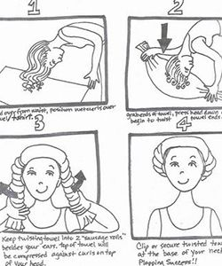 The Plop Plopping is a technique used to create defined curls before diffusing or air drying. Touching our hair while wet (with or without product) can cause major frizz. Plopping with a micro-fiber towel or t-shirt can decrease that amount of frizz and speeds up drying time! How to Plop: