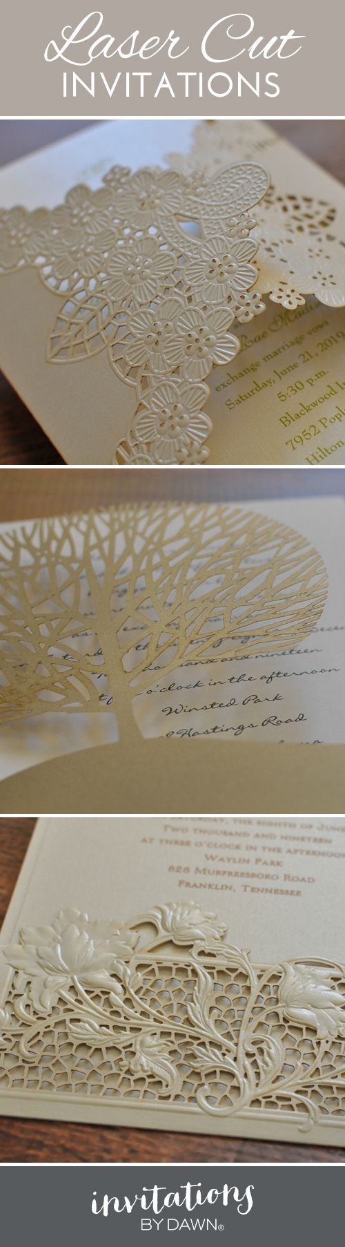 The beauty is in the details; stunning laser-cut wedding invitations from Invitations by Dawn.