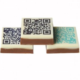 A scannable and edible QR code on chocolate, can be a fun and noticeably different idea for events. It can link to anywhere (for example to promote more interest in a company's social media pages), or even be part of a competition adding to the festivities of the occasion.