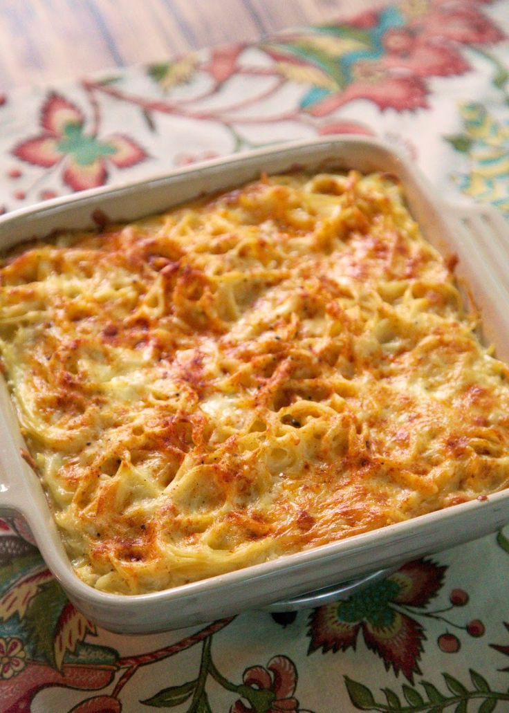 Baked Spaghetti and Cheese Recipe - he took one bite and said this was better than any mac and cheese I've made! Spaghetti, Monterey Jack cheese, flour, dry mustard, milk and eggs - just whisk it all together and bake. Easy side dish or could even be a meatless main dish!