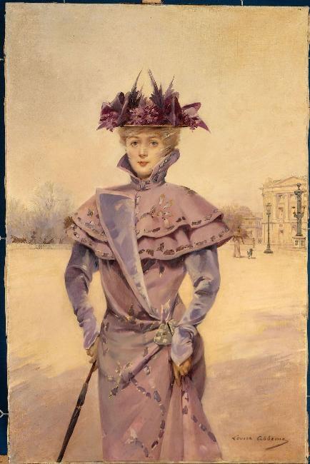 Abbéma, Louise (Etampes, 30/10/1853 - Paris, 1927) vers 1894, Elégante place de la Concorde