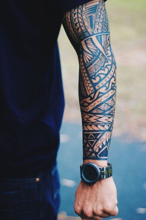 Native / Tribal / Maori / Polynesian / Samoan arm tattoo. Full sleeve.