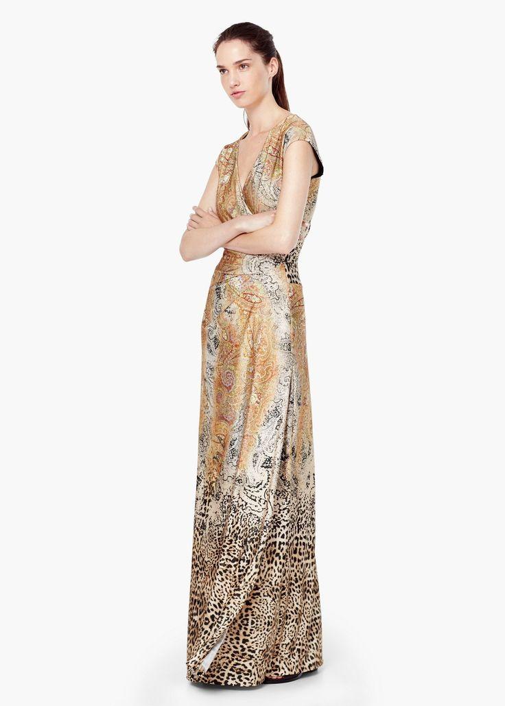 Lange paisley-jurk - Jurken voor Dames   MANGO