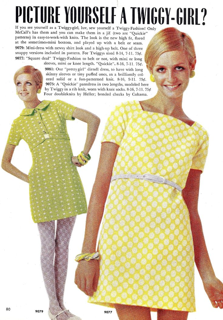 Vintage Fashion and Beauty - Twiggy models dresses in McCall's, 1968. (♥)