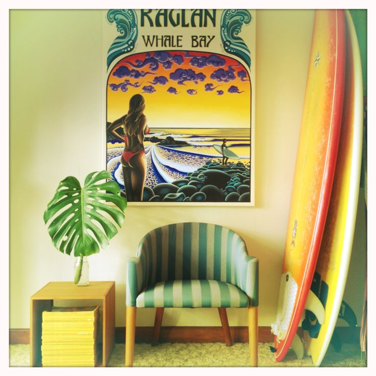 Raglan original painting hanging up in my bedroom!  New Zealand is a surfers playground! This one's still available !