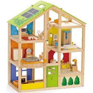 Oh, which dollhouse to choose???  This is adorable!  Love the solar panels! Going off the grid these dolls are! :)  Amazon.com: Hape All Season House - Furnished: Toys & Games