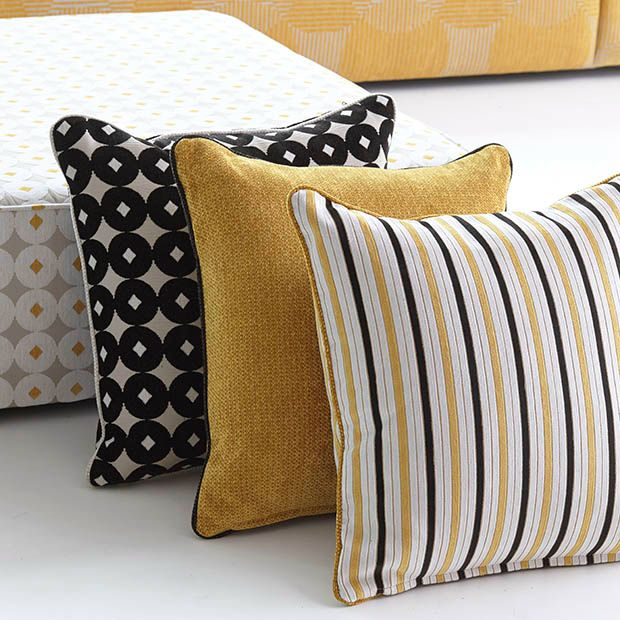 Loving the bold patterns and pop of golden yellow from -Warwick Fabrics, CIRRUS Collection