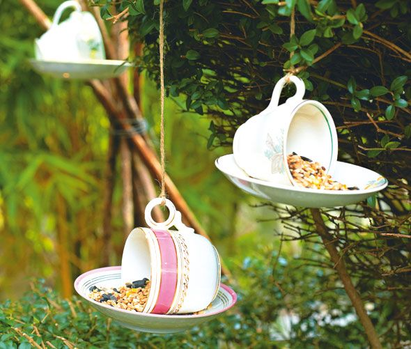 Tea set bird feeders:  A wonderful way to use sweet vintage tea cups and saucers that have been chipped is to turn them into these gorgeous china bird feeders. Place or hang them around the garden for your feathery friends to feast on.