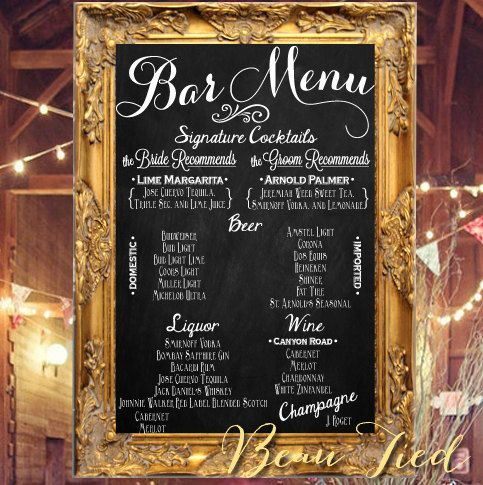 Like the idea of a customized bar menu? Jessica can write one for you! This is adorable! And you can use one of our rentals to write it on ;)