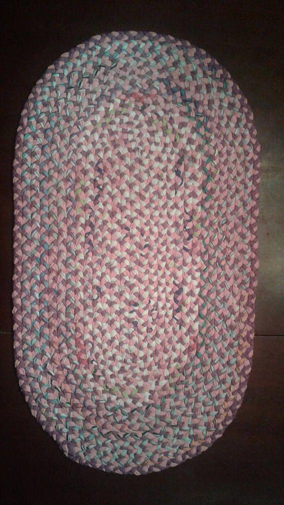New Handmade Cotton Braided Fabric Area Rug 34 x
