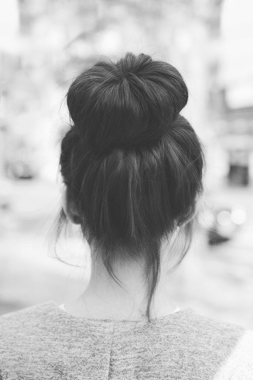adorable messy sock bun... I wear my hair like this ALL THE TIME