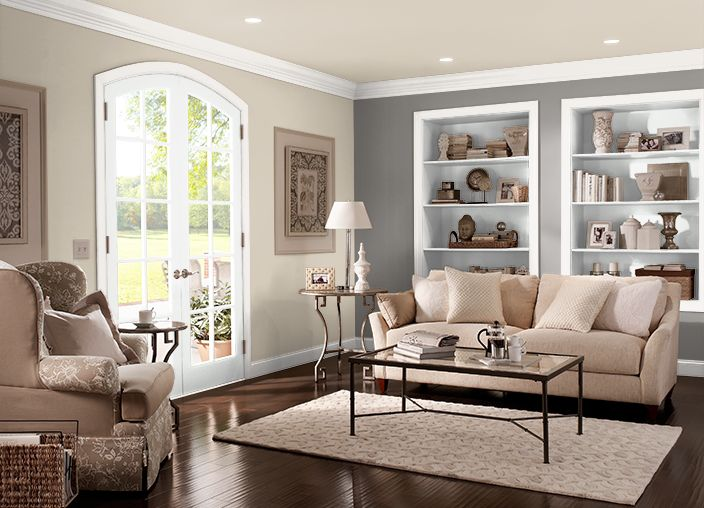 Wall/Ceiling: Merino Wool, Trim: Pearl Drops, Accent Wall: Suede Gray