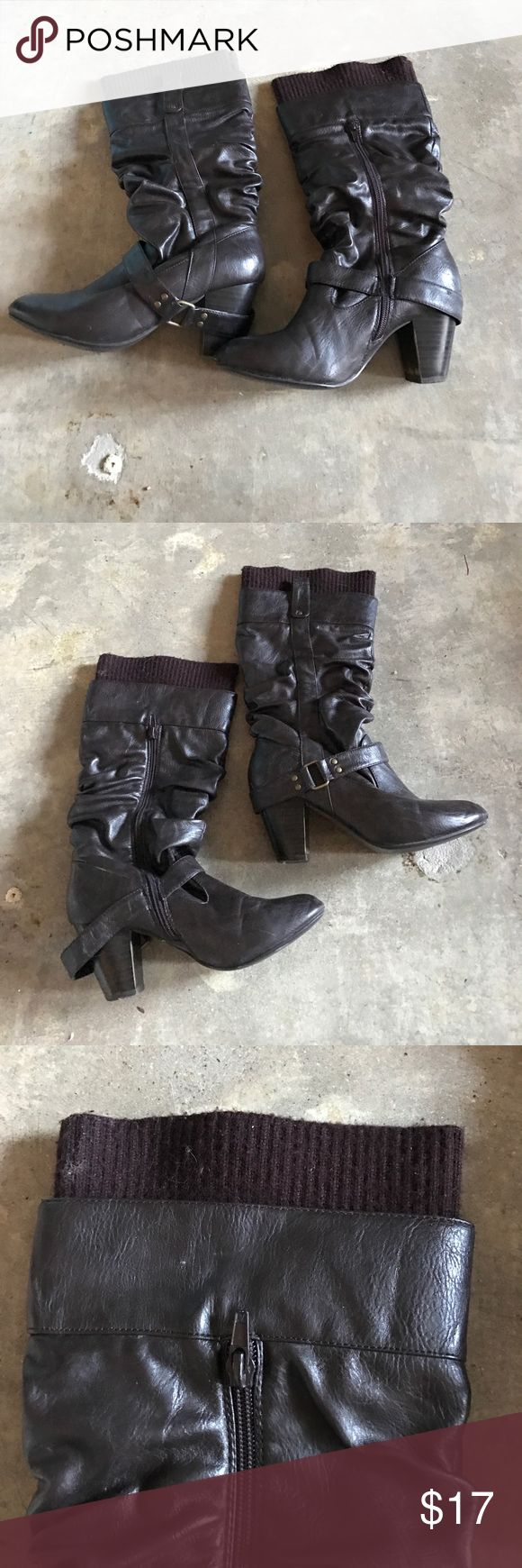 Mid Calf Dark Brown Heeled Boots Mid calf dark brown heeled boots. Zipper side, soft material at the very top. Shoes Heeled Boots