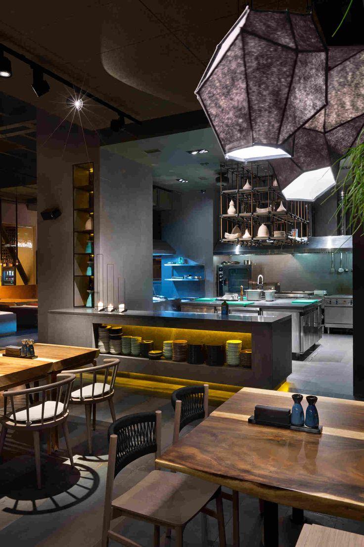 Restaurant EAST-Porto in Kiev by YOD Design Studio  #wood #interior #design #lamp #light #nice #chair #table #plants #kiev #ukraine #madeinukraine