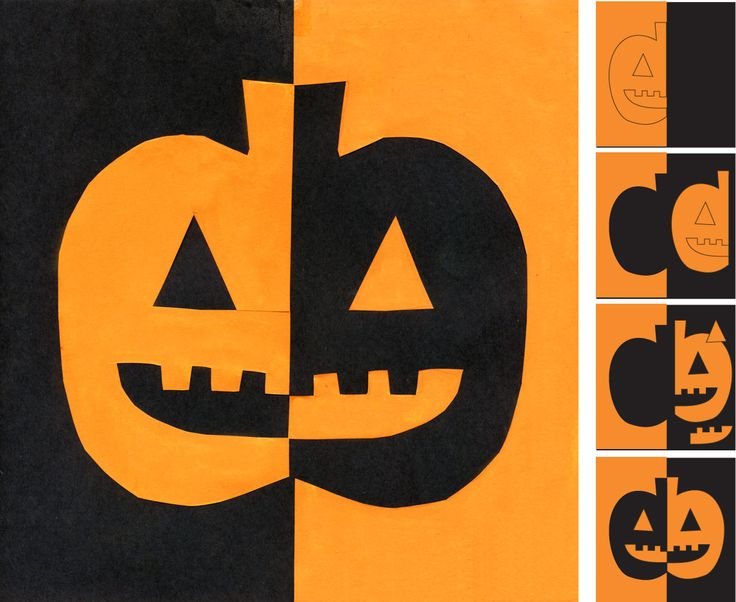 Pumpkin Art. A very literal example of symmetry as you need to cut and flip shapes to make this very graphic work of art. #halloweenart