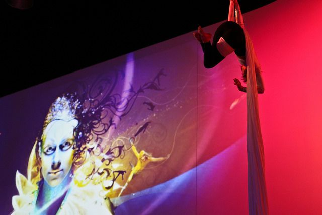 Aerialist and Cirque imagery created a unique and entertaining event recently at Infinity Park's Event Center