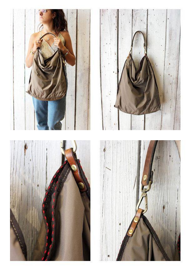 Large Handmade Italian technical WATERPROOF fabric&Leather  ALLEGRA tecnica…