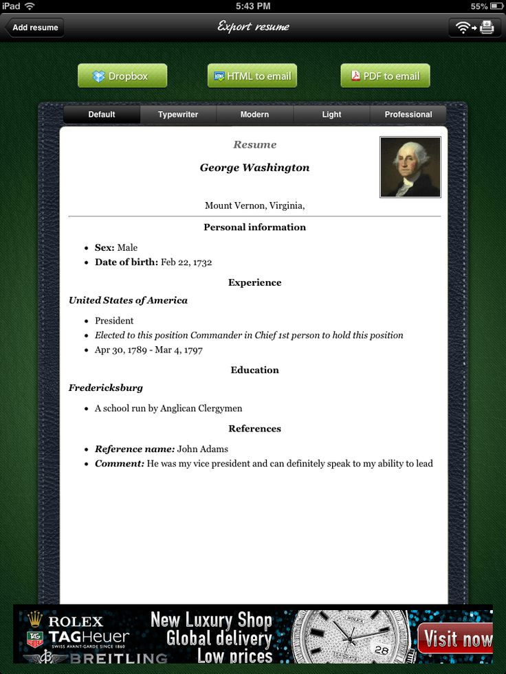 ipad project  resume builder