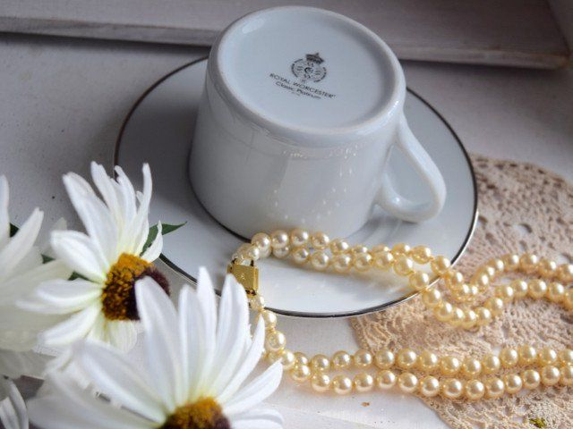"""Royal Worcester """"Platinum"""" Porcelain Coffee Set"""