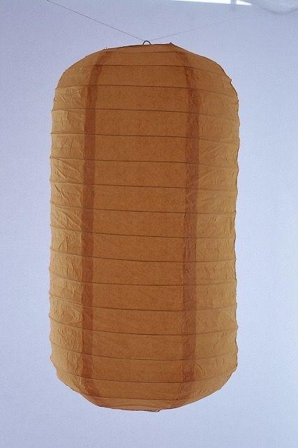 Lanterna di carta di riso da appendere Tubolare, colore Arancione. Diametro 30 cm, altezza 48 cm con gancio.
