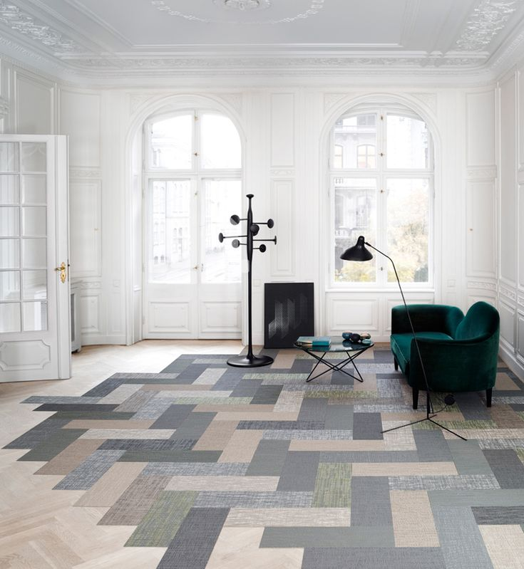 I like the zip zag in this..we can achive something similar by laying the full tiles 2-3 colours together  bolon debuts silence - a carpet collection influenced by nature - designboom | architecture  design magazine