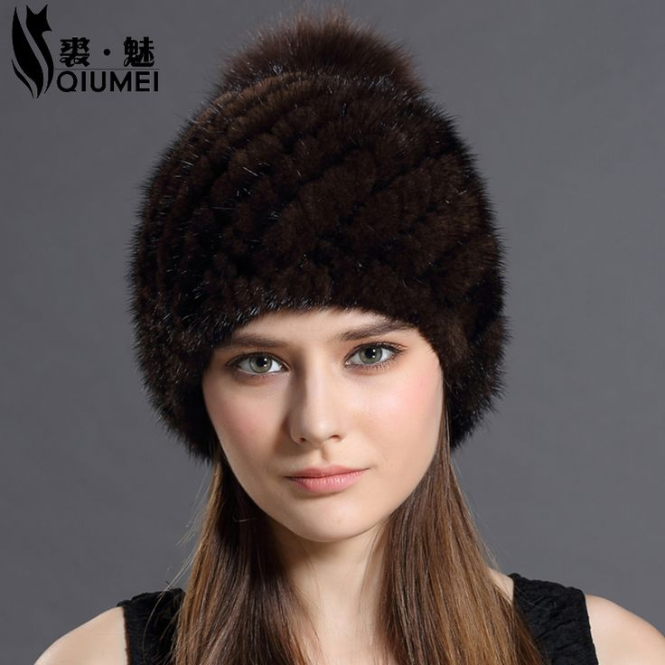Real Mink Fur Hat Cap With Fox Fur Pompoms Hats For Women New Brand Thicken Female Cap Winter Knitted Hot Sale Mink Fur Beanies