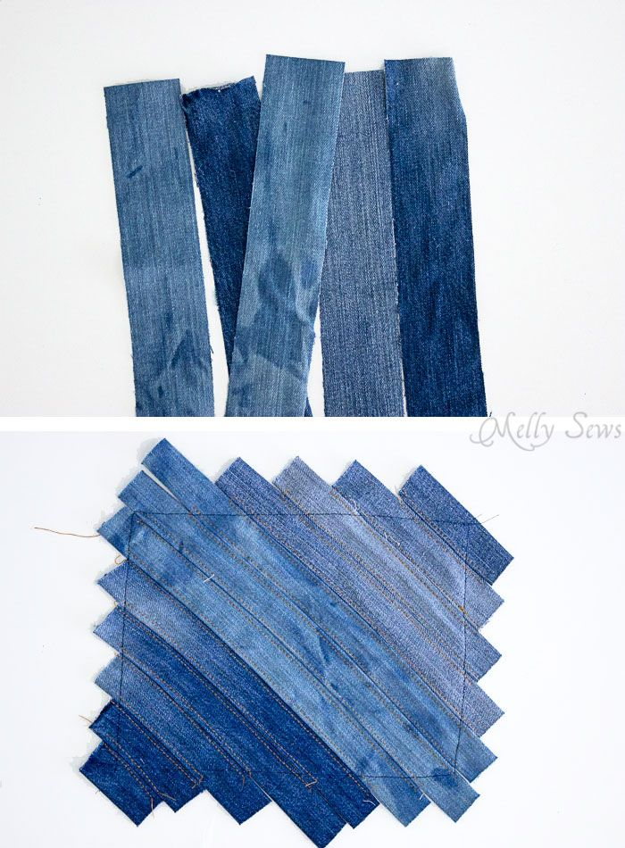 Step 1 - Upcycled Denim Cross Body Bag Tutorial - Great Way to Use Denim Scraps - Melly Sews