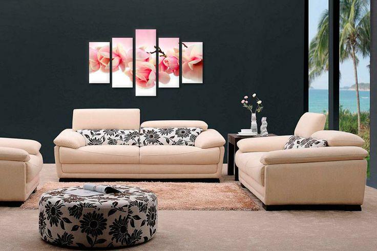 Tablouri magnolia roz 55800  Dimensiuni: 2x 25x50 + 2x 25x60 + 1x 25x80  Total ocupat: 125x80 cm