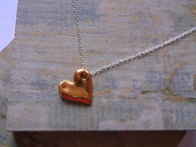 Rose Gold Plate Heart on Sterling Silver Pendant £15.00