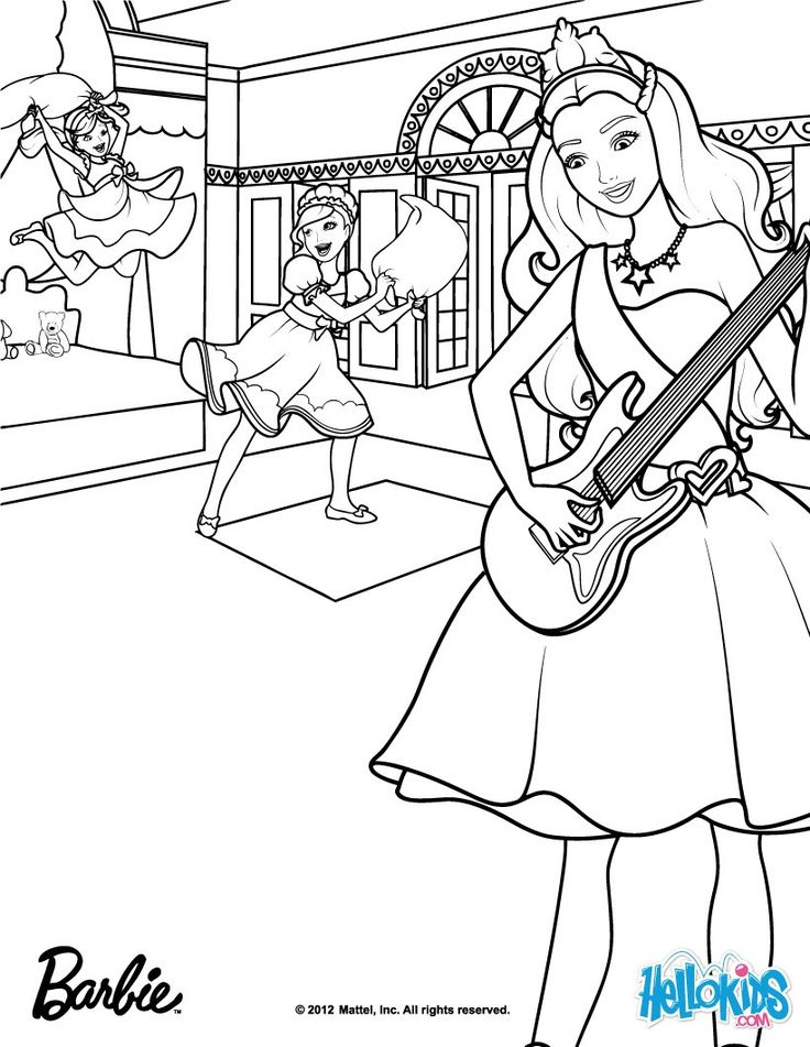 Tori plays the guitar Barbie coloring page. More Barbie