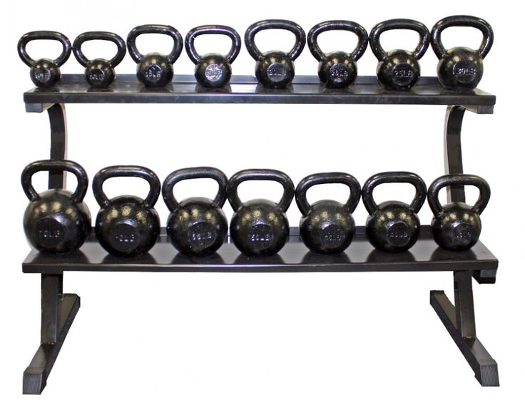 "Troy VTX 2-Tier Kettlebell Storage Rack  Dimension: 54"" L x 27"" W x 32 1/2"" H Weight: 70lbs Capacity: 400lbs per shelf.  http://www.repfitness.com/bars-plates/storage/troy-2-tier-kettlebell-rack  #weight #storage #kettlebell #rack"
