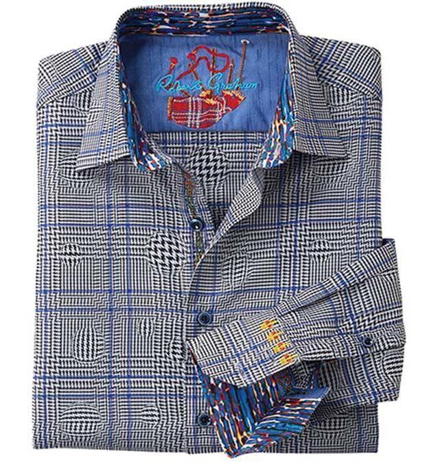 NWT ROBERT GRAHAM shirt S black blue plaid contrast cuffs men's $248