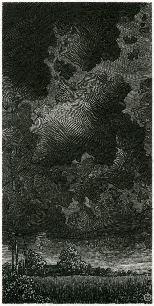 """""""Another Storm,"""" 3 x 6 in, Pen and Ink, 2013 by Taylor Mazer"""