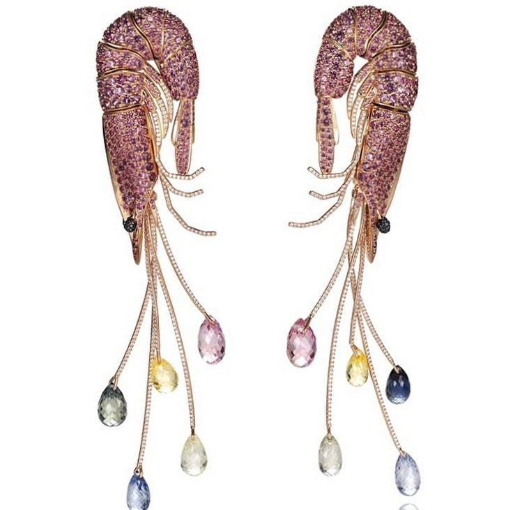 From Chopard's Animal World Collection, the 'Shrimp' earrings are set with black and white diamonds, 20 carats of briolette-shaped multi-colored sapphires in 18k yellow gold.