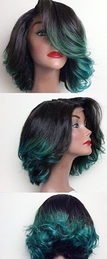 Ombre green lace front wig, wavy hair with green ends