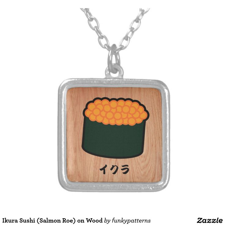 Kawaii sushi art, Sushi themed gifts, sushi drawings, gift for sushi lover, gift for japan lovers - Ikura Sushi (Salmon Roe) on Wood Square Pendant Necklace