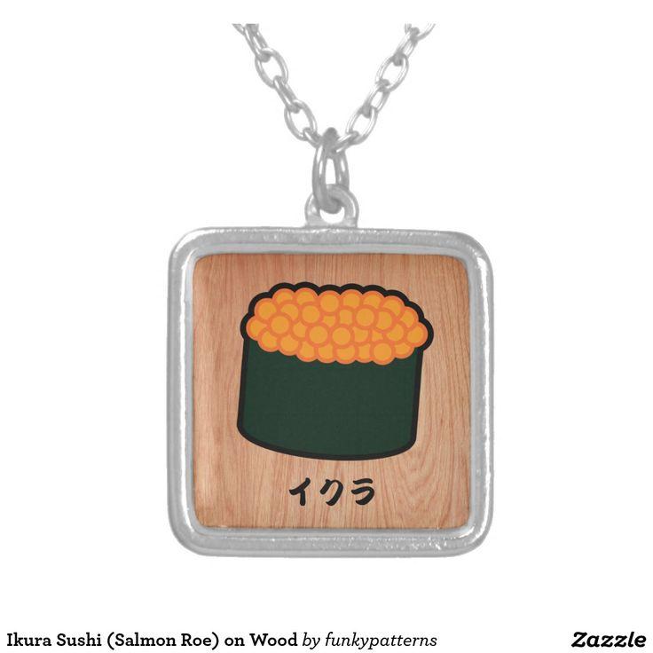 Ikura Sushi (Salmon Roe) on Wood Square Pendant Necklace